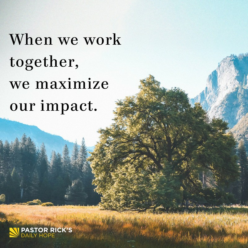 When We Work Together, We Maximize Our Impact