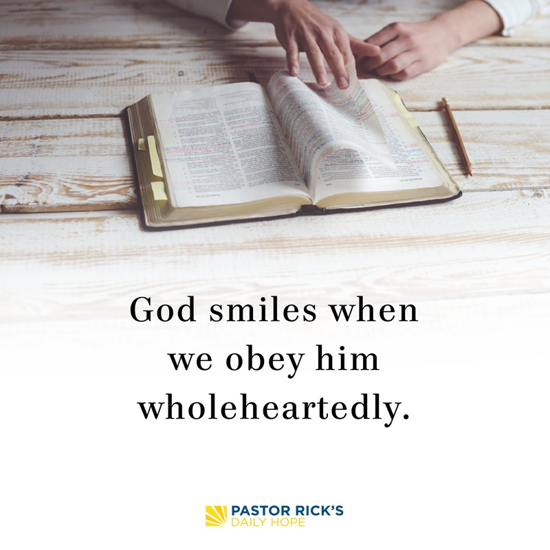 God Smiles When We Obey Wholeheartedly